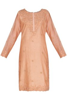 Old Rose Pink Embroidered Kurta With Dupatta by Shalini Dokania