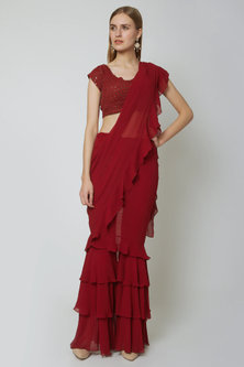 Red Embroidered Pant Saree Set by Sheena Singh