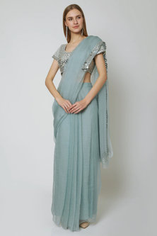 Powder Blue Embroidered Pre-Stitched Saree Set by Sheena Singh