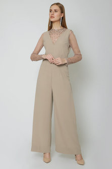 Beige Jumpsuit With Hand Embroidered Sheer Bodysuit by Sheena Singh