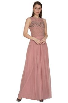 Pink Embroidered Bodysuit With Skirt by Sheena Singh