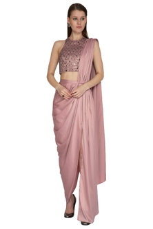 Pink Embroidered Saree Set by Sheena Singh