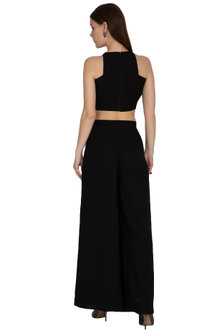 Black Embroidered Crop Top With Pants by Sheena Singh