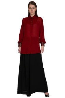 Red Embroidered Shirt by Sheena Singh