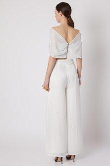 White Metallic Top With Pants by Shivangi Jain