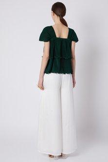 Emerald Green Pleated Top by Shivangi Jain