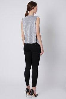 Grey Cowl Pleated Top by Shivangi Jain