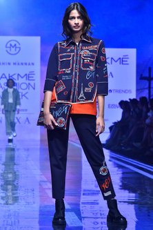 Navy Blue Embroidered Track Pants With Pockets by Shahin Mannan