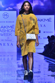 Mustard Embroidered Kaftan Dress by Shahin Mannan
