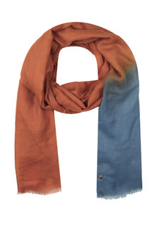 Rich blue and ochre dip dyed stole by Shingora