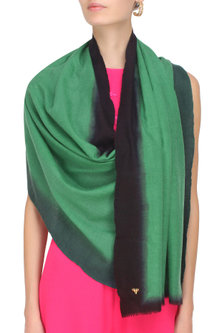 Green and black dip dyed stole by Shingora