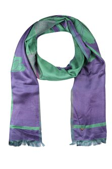 Violet and sea green floarl jacquard stole by Shingora