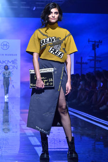 Grey Embroidered & Printed Skirt by Shahin Mannan