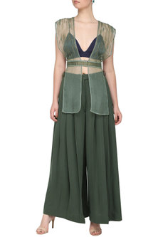Mint green embroidered jacket with bustier and pants by SHEENA SINGH