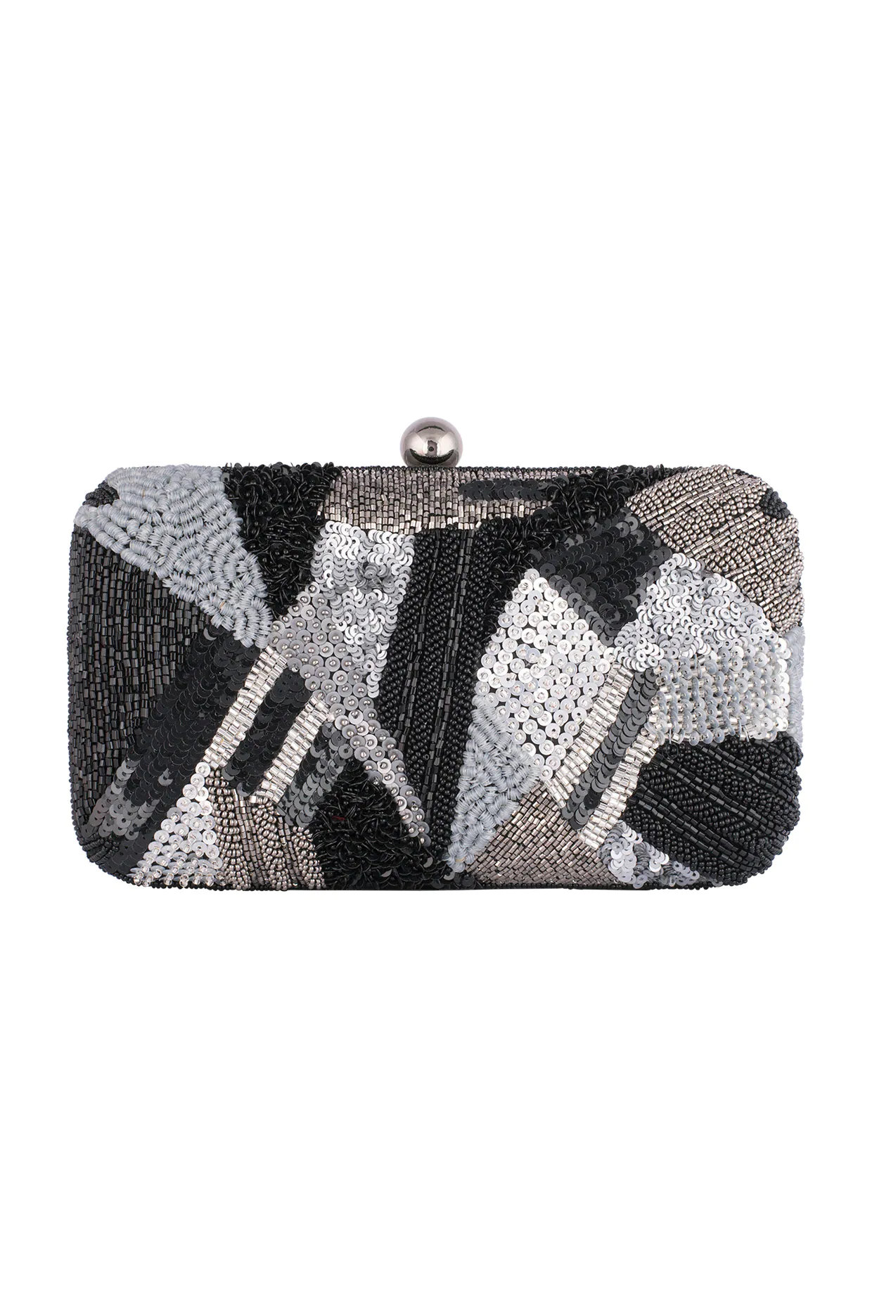Black Geometrical Embroidered Clutch