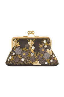 Black Embroidered Satin & Silk Clutch by SONNET