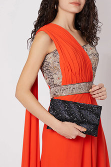 Black Embroidered Satin Clutch by SONNET