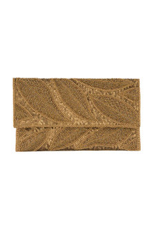 Bronze Embroidered Satin & Silk Clutch by SONNET