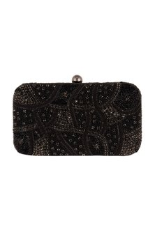 Black Geometric Embroidered Clutch by SONNET