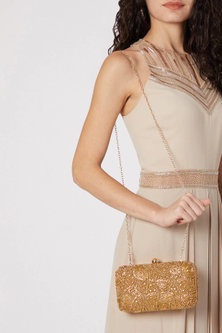 Gold Geometric Embroidered Clutch by SONNET