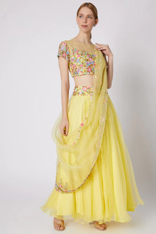 Yellow Floral Embroidered Lehenga Set by Sonam Luthria