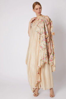 Beige Pleated Pants With Blouse & Embroidered Dupatta by Sonam Luthria