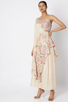 Beige Embroidered Bustier With Pants & Draped Dupatta by Sonam Luthria