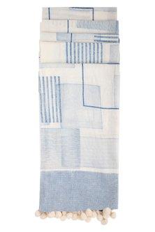 Indigo Block Printed Cotton Dupatta by Silkwaves