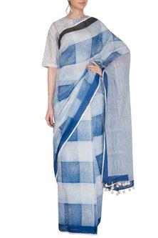 Indigo Block Printed Saree by Silkwaves