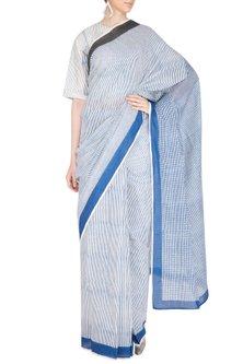Indigo Printed Saree by Silkwaves