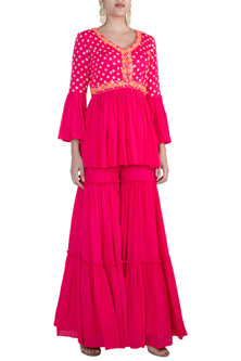 Pink Embroidered Top With Gharara by Salian by Anushree