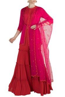 Pink Embroidered Gharara Set by Salian by Anushree