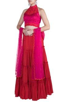 Red Embroidered Lehenga Set by Salian by Anushree