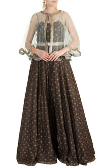 Brown Foil Printed Jumpsuit With Embroidered Cape & Belt by Salian by Anushree