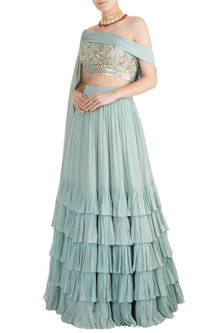 Blue Lehenga Skirt With Embroidered Blouse & Attached Dupatta by Salian by Anushree