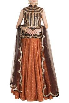 Orange & Brown Embroidered, Foil Printed Lehenga Set by Salian by Anushree