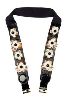 Black Poppy Button Leather Belt by Shivan & Narresh