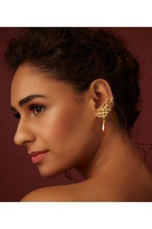 Gold Finish Ear Cuffs With Swarovski Crystals by Suneet Varma X Confluence