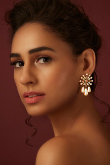 Gold Finish Floral Earrings With Swarovski Crystals by Suneet Varma X Confluence