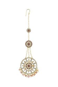 Gold Finish Maang Tikka With Swarovski Crystals by Suneet Varma X Confluence