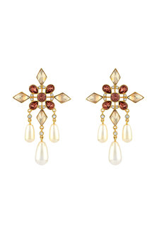 Gold Finish Shimmer Earrings With Swarovski Crystals by Suneet Varma X Confluence