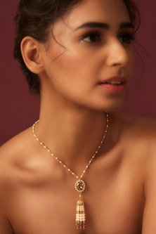 Gold Finish Tassel Necklace With Swarovski Crystals by Suneet Varma X Confluence