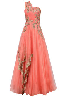 Wine Floral Zardozi and Sequins Embroidered One Shoulder Flared Gown by Sanna Mehan