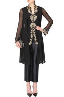 Black Drape kurta set by Sanna Mehan