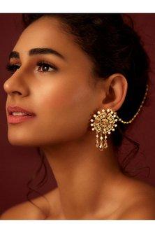 Gold Finish Circular Earrings With Swarovski & Pearls by Suneet Varma X Confluence