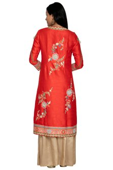 Red Embroidered Jacket With Sharara Pants by Sonali Gupta