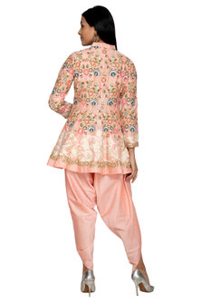 Peach Embroidered Jacket With Dhoti Pants by Sonali Gupta
