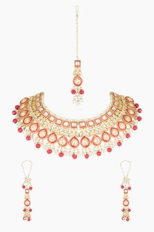 Gold Plated Red Stone Necklace Set With Maang Tikka by Soranam