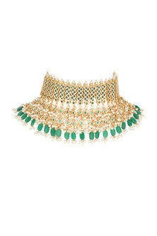 Gold Plated Layered Choker Necklace by Soranam
