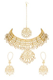 Gold Plated Faux Pearls Necklace Set With Maang Tikka by Soranam